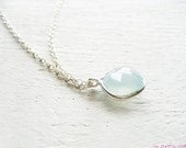 Facetted chalcedony stone 925 sterling silver necklace