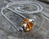 Golden Topaz Necklace - Beaded Yellow Necklace - Swarovski Crystal Necklace - Silver Necklace Chain - Romantic Jewelry - Bridesmaid Gift