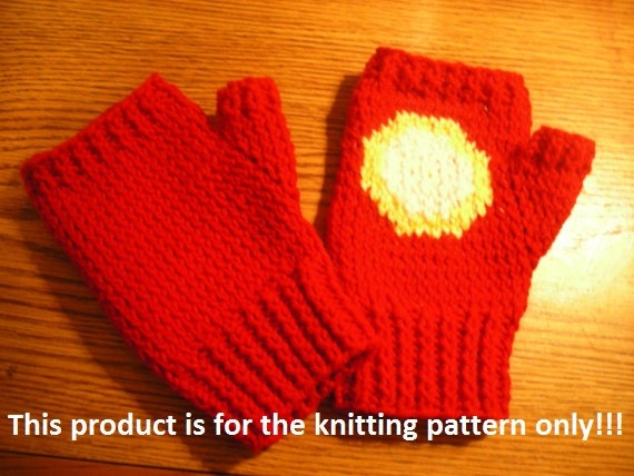 Knitting Pattern: Iron Man Fingerless Gloves
