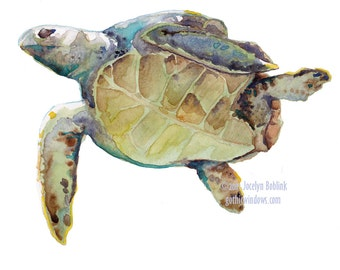 Green Sea Turtle, giclee print from original watercolor painting, 8x10