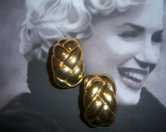 Vogue Bijoux Signed Gold Tone Braided Earrings