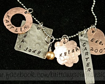 Mixed Metal Hand Stamped Necklace - Mixed Media Neckalce - Personalized and Unique - Family Necklace