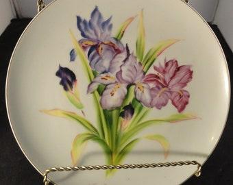 Hand Painted Artist Signed Noritake Morimura Nippon Decorator Wall Plate Iris
