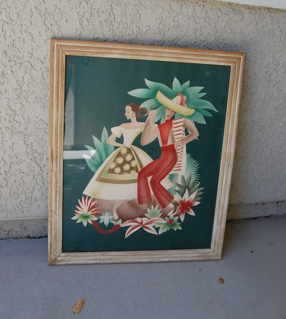 RESERVEDLarge Gorgeous 1950s Original Watercolor Painting - Mexican Fiesta - Man Woman - 20 inches by 24 inches