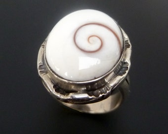 Shiva Eye Ring - Made to Order Sterling Silver Shiva Eye Ring - Custom Made White Shell Ring