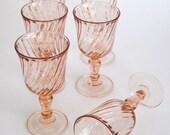 Pink Twisted Swirl Rosaline Pattern Cordials/Claret Set of 6