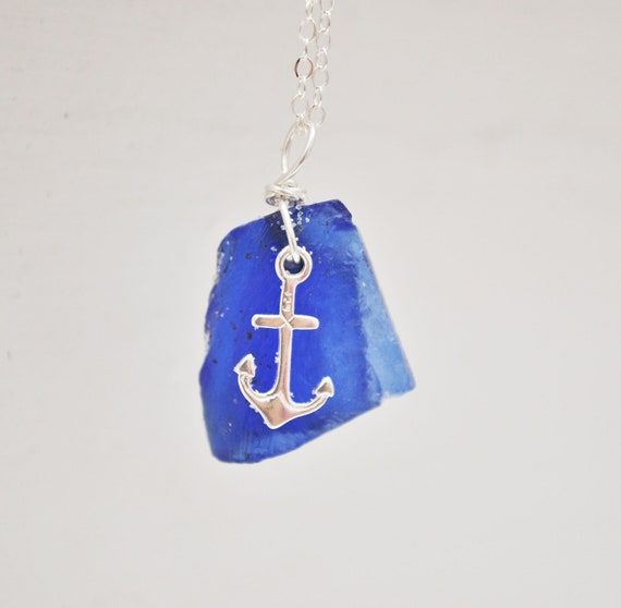 Seaglass Necklace - Cobalt Blue Seaglass With Anchor Charm - Seaglass Jewelry
