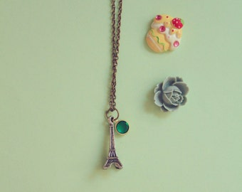 eiffel necklace with Emerald Green Swarovski Rhinestone
