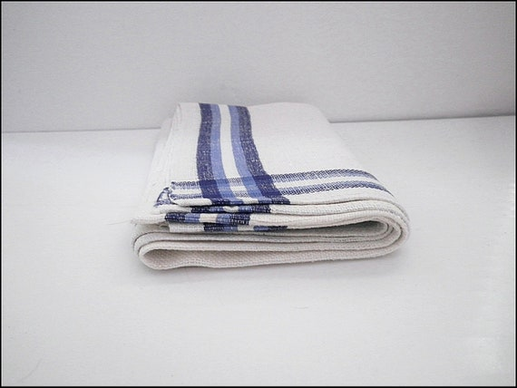 Vintage Linen Kitchen Towel Slub Texture Cotton Linen White Blue Stripe