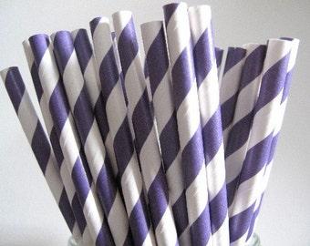 NEW LOW PRICE 25 Purple Striped Paper Straws Wedding Birthday Baby Shower Halloween  Party / Cake Pop