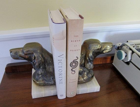 Vintage Bronze Spaniel Bookends
