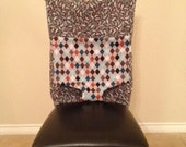 SALE Tie Up Travel High Chair- Gray/ Bold Paisley Argyle ONE LEFT
