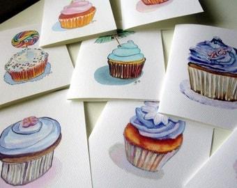 Cupcake Card Set, Watercolor Art Note Cards Combo, Set of 8