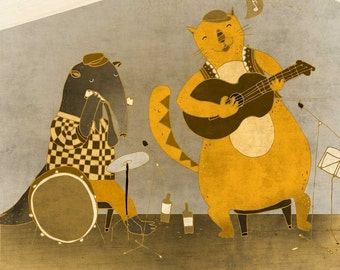 SIMON & the BLUES BAND - art print // happy illustration // music cat drum guitar bluse band yellow
