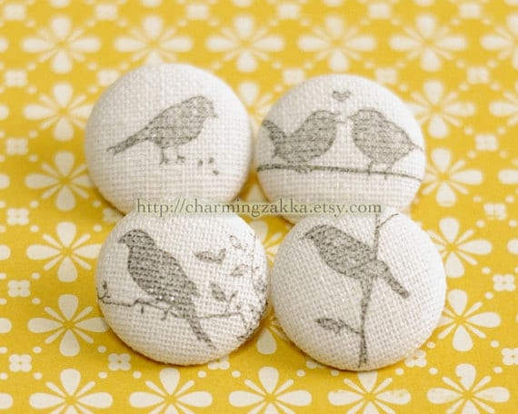 Fabric Covered Buttons - Stamp Printed Birds Collection, Stone Grey (4Pcs, 0.75 Inch)