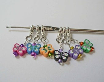 Cute Clay Stitch Markes YOU CHOOSE a set of 6 Flowers Butterfly Fruit Colorful Rainbow Beaded Stitch Markers