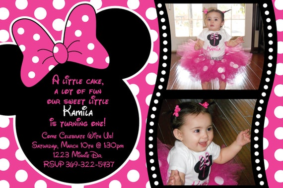Minnie Mouse Zebra OR Polka dot Birthday por HeathersCreations11