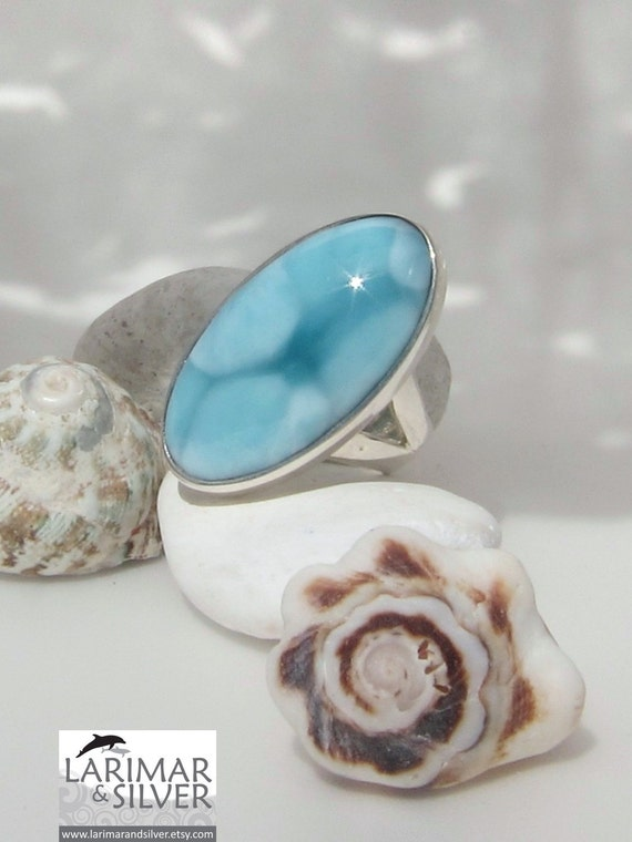 Larimar AAA ring size 8, Turquoise Forever - gorgeous pattern blue sky Larimar oval