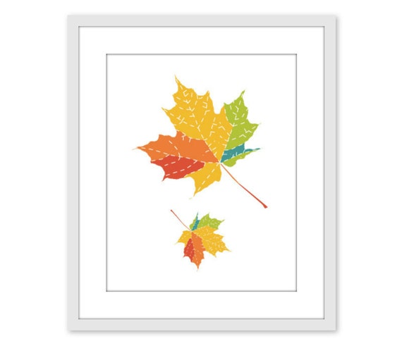 Autumn Leaves Art Print Home Decor Fall Foliage Home Decor Colorful Maple Leaf - Yellow Orange Green