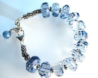 "LP 818  Fancy Cut, Blue Quartz Nugget Bracelet     "" One Of A Kind """