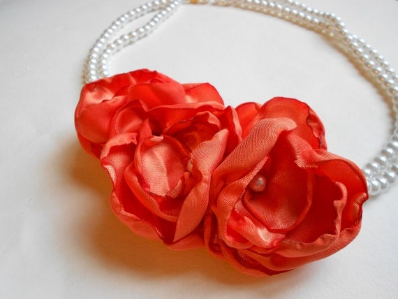 Orange Fabric Flower Necklace with White Pearls