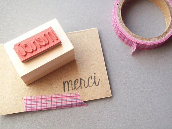 Merci Rubber Stamp , Thank You French , Customize in Any Language Grazie Gracias
