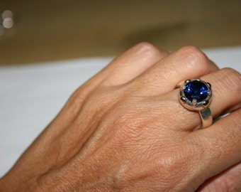 Silver Ring , Spinel Ring,  Blue Stone Ring, Orange Stone,  Sterling silver, Silver and Gold Ring,