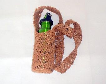 Plarn drink carrier reuse Earth friendly water bottle holder crocheted from plarn brown plastic bag yarn