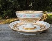 ANTIQUE Porcelain J Pouyat  Limoges Roses  Gold Trim Demitasse Set  Circa 1906 Through 1932 According to China Mark Mint Condition