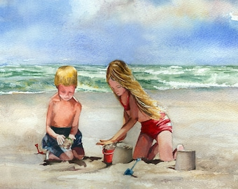 Building Sandcastles at the Shore, beach watercolor painting print