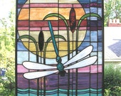 "Arts and Crafts Style Dragonfly Sunset- 16"" x 22"" Stained Glass Window Panel"