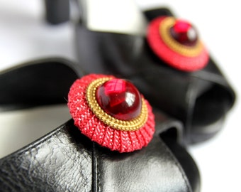 Red and Gold Round Shoe Clips. Shoe Accessories. Handmade. OOAK. Reused Materials.