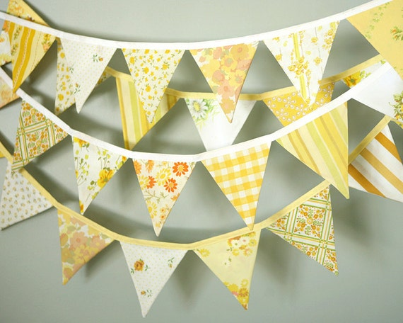 Sunshine Yellow Party Bunting - Fabric Flag Garland - Pennant Banner - Vintage Upcycled Fabric - Wedding Decoration - Three 10' Lengths
