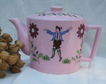 Charming Whimsical Pretty Pink Teapot French Dancer Floral Accents Very Old Marked L'amour