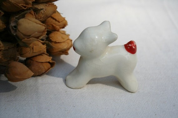 Very Old Vintage Small Woodland Creature Deer Rabbit or Puppy Dog Figurine 1930s