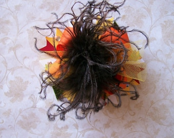 Gobble Gobble, Thanksgiving---Over the Top Hair Bow with Ostrich Puff Center---