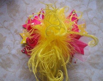 Over the Top Hair Bow, Colorful Hair Ribbon, Custom Baby Hairbow, Ribbon Hair Clip, Baby Hair Bow Clip, Pink and Yellow Bow