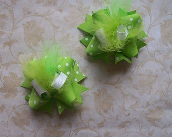Hair Bows Set 2---MINI Funky Fun Over the Top Bows---SOLID Lime Green