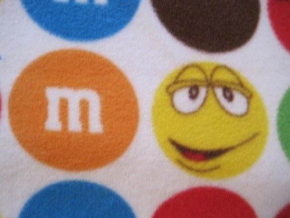 Candy M and M's in Many Colors on White with Chocolate Brown Fleece Blanket