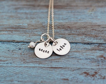 "Hand Stamped Names Necklace Sterling Silver Personalized Necklace ""Tiny Silver Tokens Necklace"""