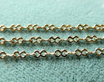 Vintage Figure 8 Cable Chain Link - 2mm -  Small, Light, Dainty  -  Silver Tone Metal - Qty 3 feet