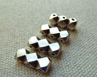 3 Strong Heavy Ethnic Sterling Silver 3 Hole Separator Spacer Bar Beads  - 14x4mm