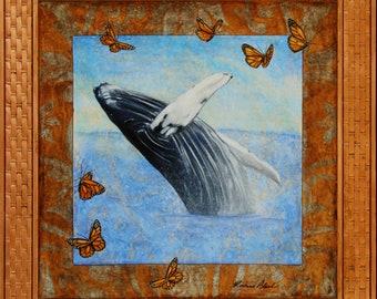 "Joyful Whale - 11"" x 14"" Matted Print"