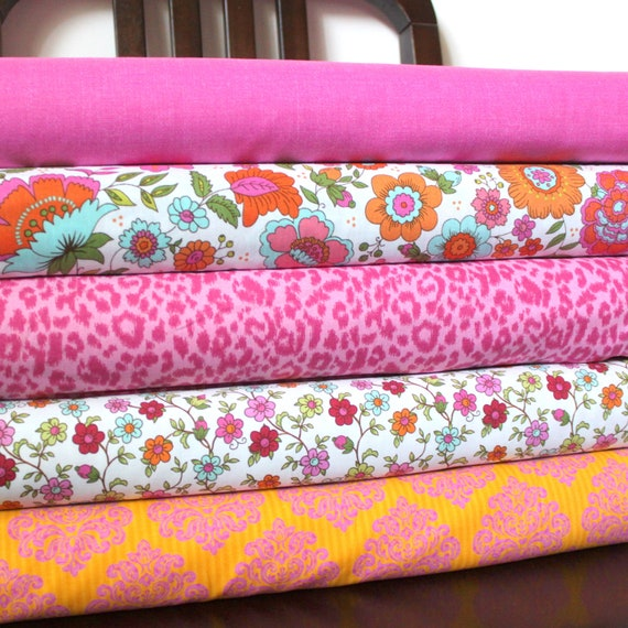 Bright Pink Orange and Aqua Floral Fabric, Divine By Rosemarie Lavin for Windham Fabrics, Fat Quarter Bundle, 5 Prints, Total