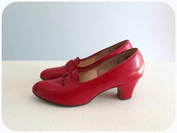 1940's red leather heels by Polly Preston ... size 6-ish