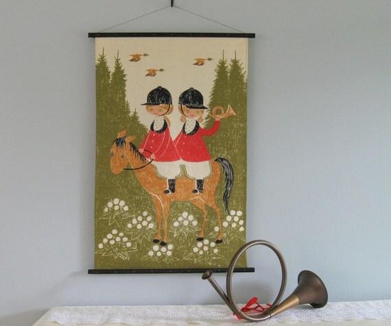 60s Linen Wall Hanging ...little girls & a horse on a fox hunt