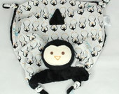 Reserved Listing, Security Blanket, Lovey, Baby Blanket, Black Minky Penguin, Stuffed Animal Blanket, Plush Toy