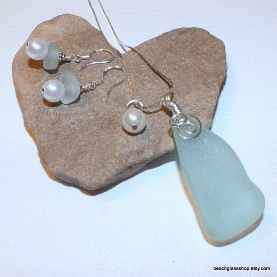 Sea Glass Beach Glass Pale Blue Green Chunky Pearl Necklace Earring Set