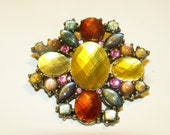 Vintage Multi-color Rhinestone Brooch