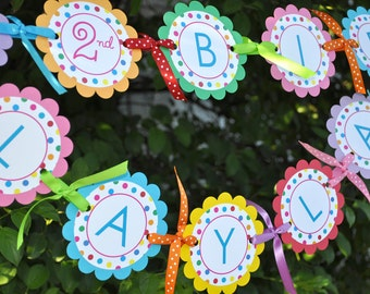 Birthday Banner, 1st Birthday Banner, Happy Birthday Banner, Girls Birthday Party Decorations, Rainbow Birthday Banner, Colorful Polkadots